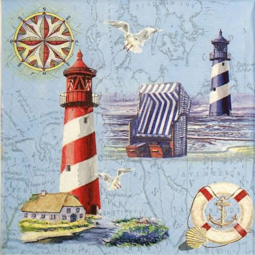 Paper Napkin - Nautical Chart