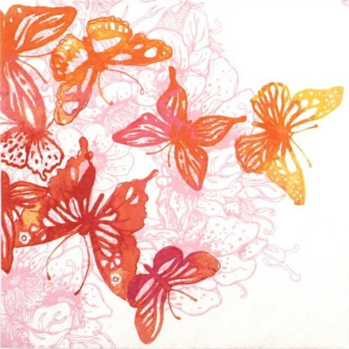 Paper Napkin - Amazing Butterflies red