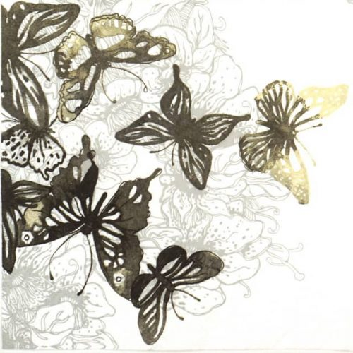 Paper Napkin - Amazing Butterflies Anthracite