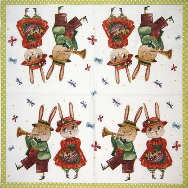 Paper Napkin - Rabbit Couple with Butterflies