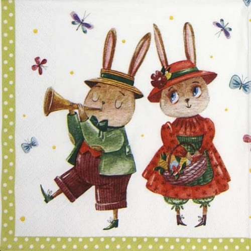 Paper Napkin - Rabbit Couple with Butterflies