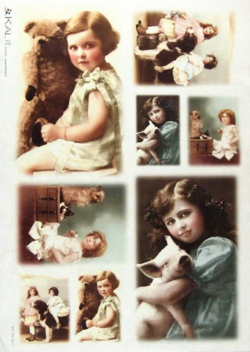 Rice Paper - Old Pictures Girls and Animals 3