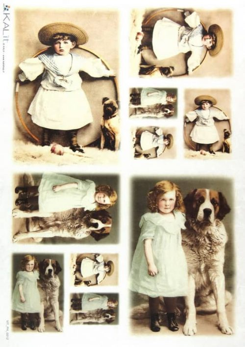 Rice Paper - Old Pictures Girls Dog