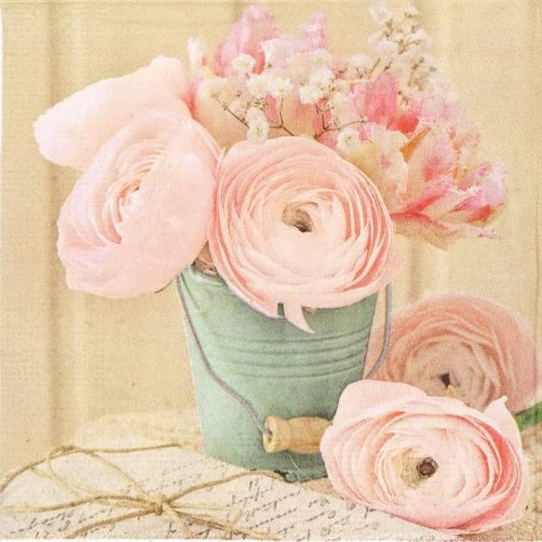 Paper Napkin - Bucket of Roses