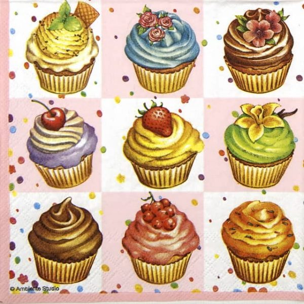 Lunch Napkins (20) - Cupcakes Square pink