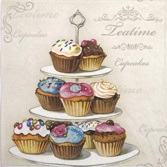 Paper Napkin - Cupcakes on etagere