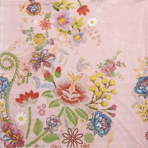 Paper Napkin - Embroidery flowers rose
