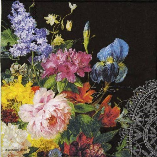 Lunch Napkins (20) - Still Life Bouquet Black