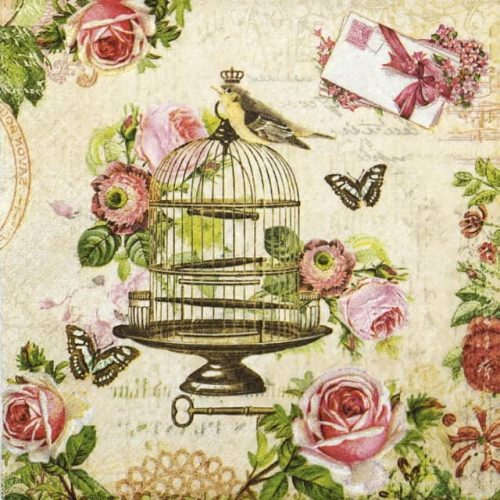 Paper Napkin - Bird on vintage cage