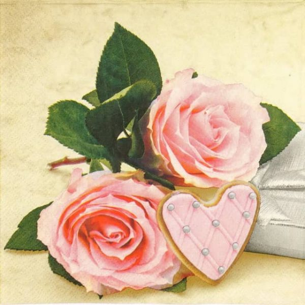 Lunch Napkins (20) - Pink Heart Love Rose