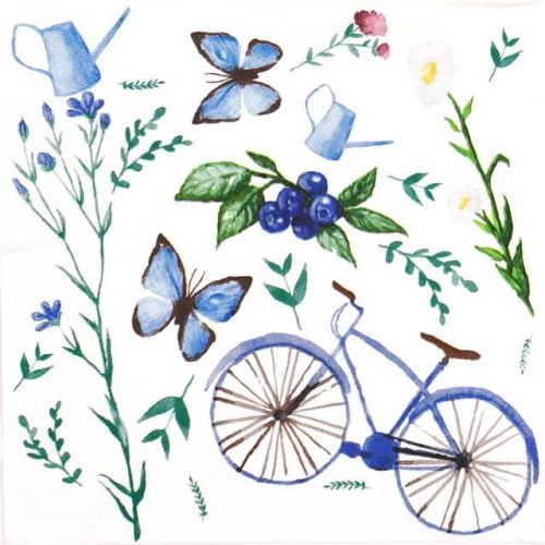 Paper Napkin - Blue Garden Bike