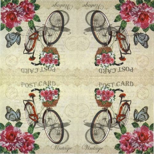 Paper Napkin - Bike Post Card