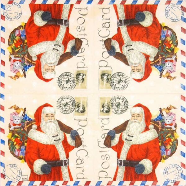 Paper Napkin - Santa Postcard