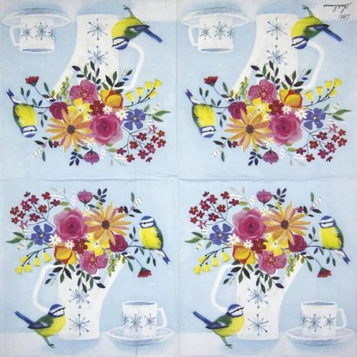 Lunch Napkins (20) - Pot of Flowers light blue