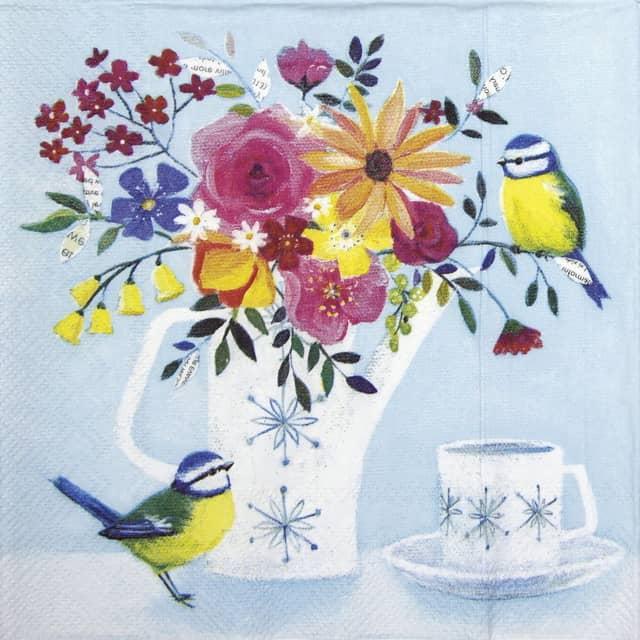Lunch Napkins (20) - Pot of Flowers light blue