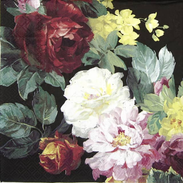 Lunch Napkins (20) - Vintage Big Rose