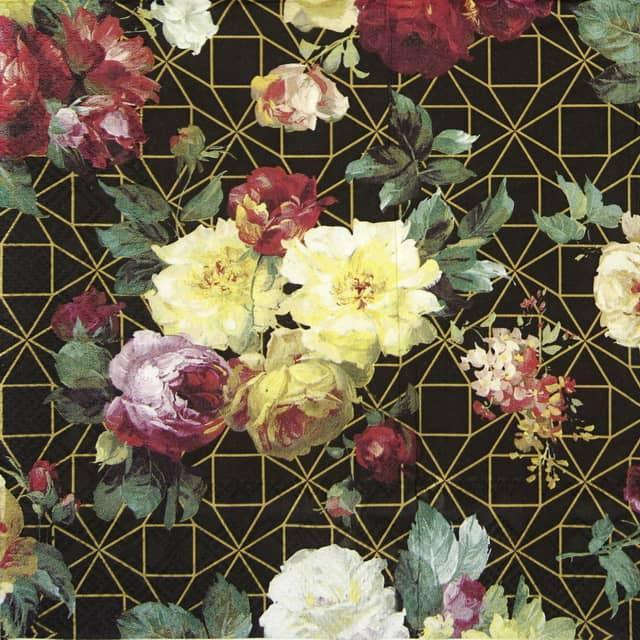 Lunch Napkins (20) - Vintage Rose black gold