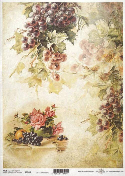 Rice Paper - Autumn Rose & Grape