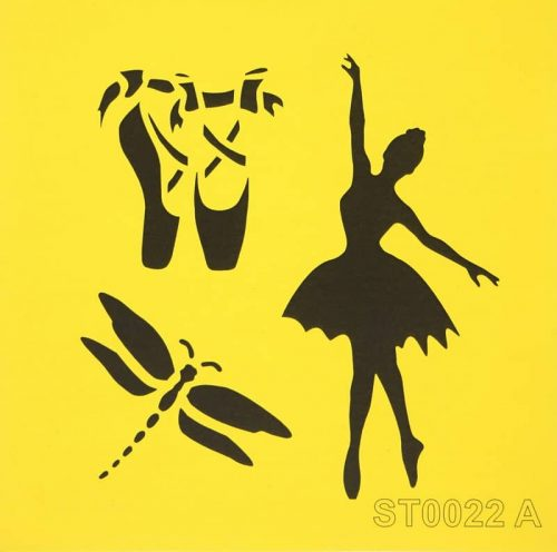 Reusable Stencil - 16x16cm - Ballett dancer with dragonfly