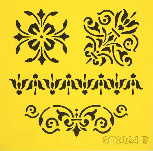 Stencil_ITD_ST0024B_Vintage floral set
