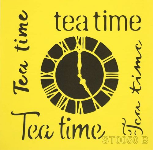 Reusable Stencil - 16x16cm - Tea time and clock
