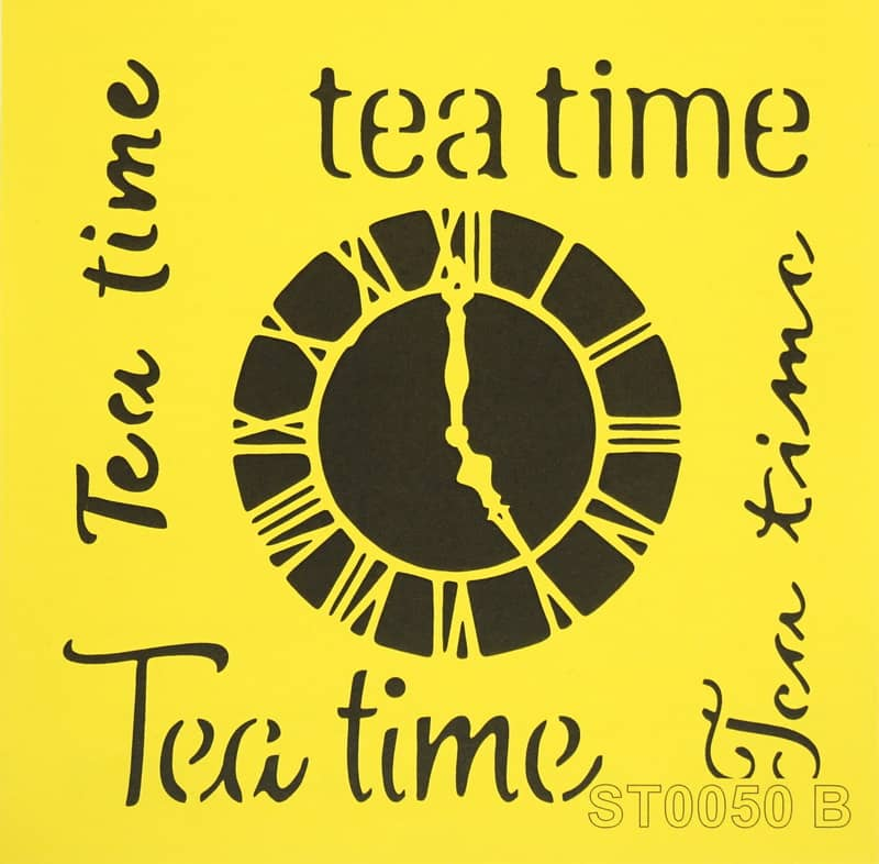 Reusable Stencil - 16x16cm - Tea time and clock