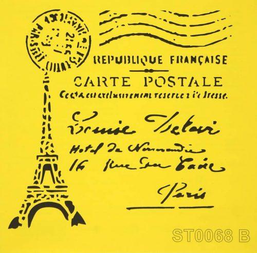 Reusable Stencil - 16x16cm - Eiffel Carte Postale