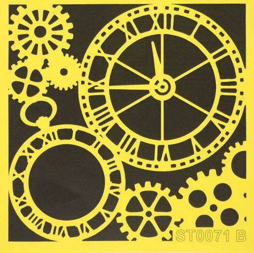 Reusable Stencil - 16x16cm - Clock and Gears