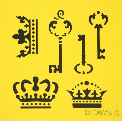 Reusable Stencil - 16x16cm - Crowns and Keys