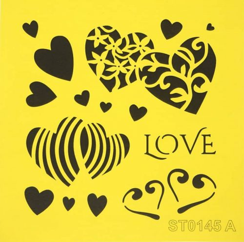 Reusable Stencil - 16x16cm - Hearts and Love