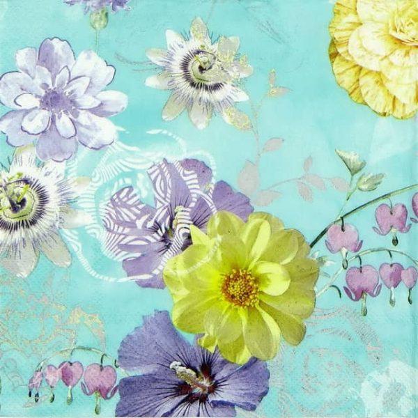 Paper Napkin - Bloomy Delight light Blue