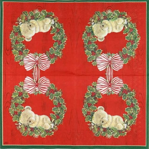 Paper Napkin - Weary Bear Red