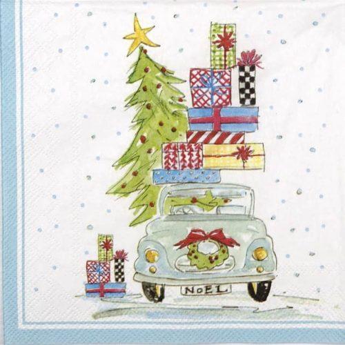 Paper Napkin - Rosanne Beck: Noel Car