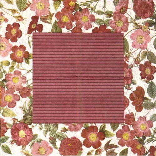 Paper Napkin - Burgundy Flower Border