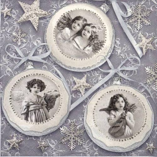 Paper Napkin - Old vintage Xmas baubles
