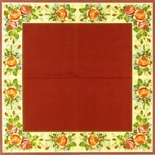 Paper Napkin - Rose Border Red