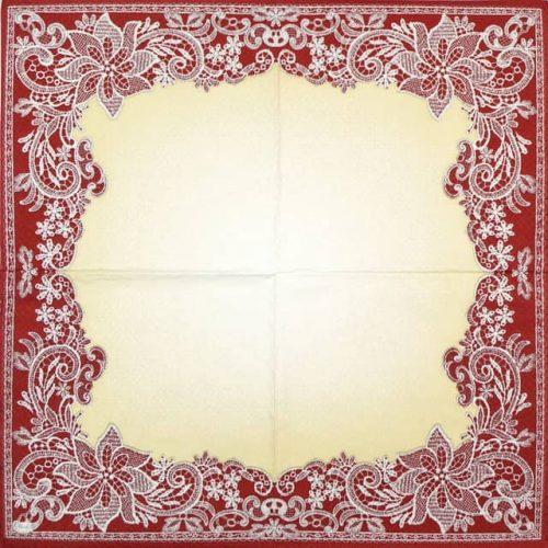 Paper Napkin - Red Lace Ornaments