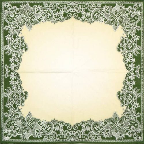 Paper Napkin - Green Lace Ornaments