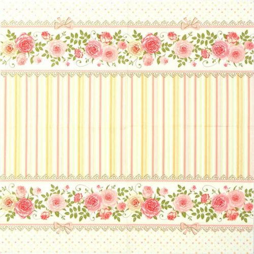 Paper Napkin - English Roses and Stripes
