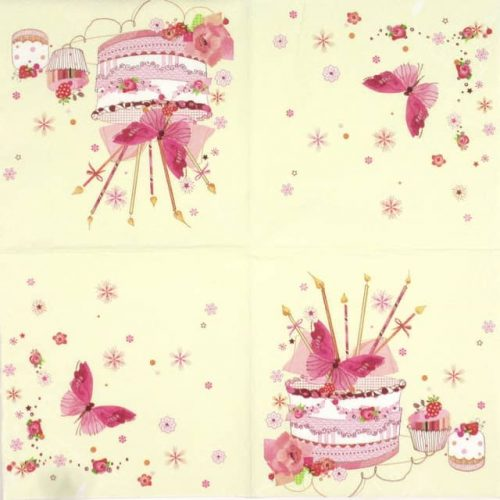 Paper Napkin - Birthday Cake with Butterfly