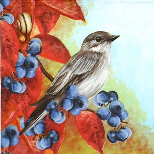 Lunch Napkins (20) - Bird on Blackthorn