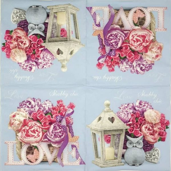 Lunch Napkins (20) - Shabby Chic with Lantern