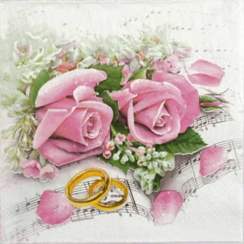 Lunch Napkins (20) - Wedding rings & pink roses