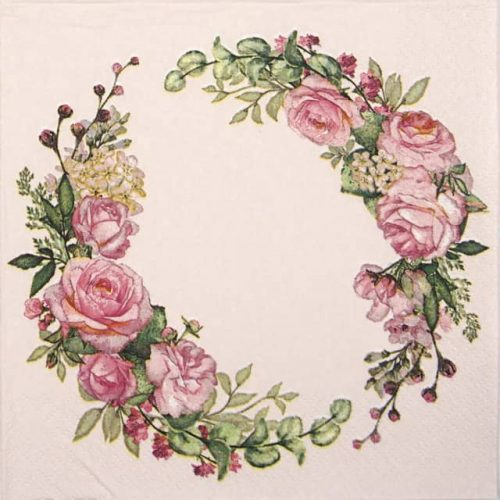 Paper Napkin - Wedding watercolour wreath