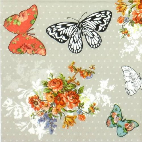 Lunch Napkins (20) - Roses Butterfly