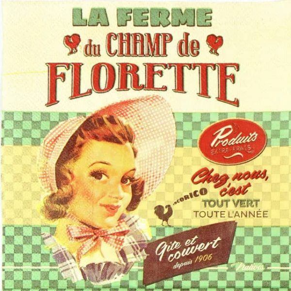 Lunch Napkins (20) - Retro Style Lady Florette