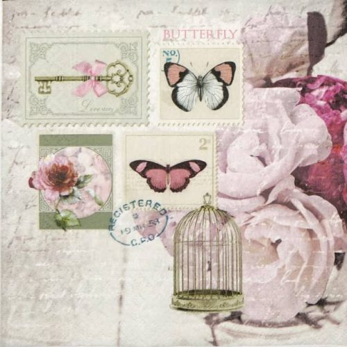 Paper Napkin - Butterfly Stamp