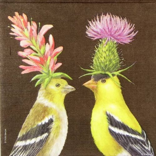 Paper Napkin - Vicki Sawyer: Goldfinch Couple