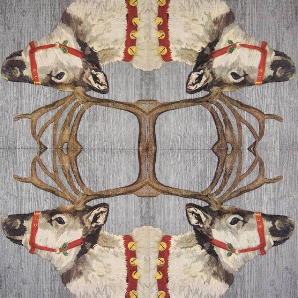 Paper Napkin - Two Can Art: Yuletide Reindeer Wood