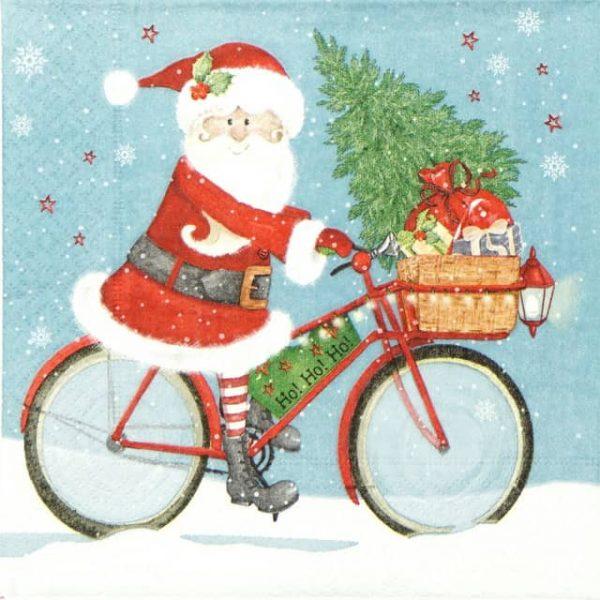 Paper Napkin - Santa on Bike